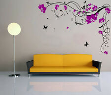 Hand Carving Vine Flower Butterfly Wall Stickers Decal Vinyl Decor  UK RUI57