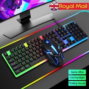 Gaming Keyboard & Mouse Set Rainbow LED USB Illuminated for PC Laptop PS4 Xbox