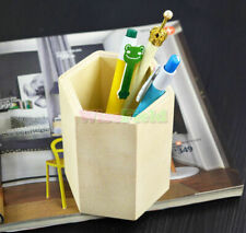 Hexagon Pen Case Brush Pot Pencil Storage Box Desktop Wooden Crafts Decor