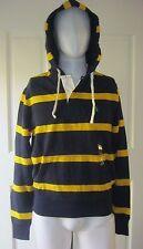 Polo Ralph Lauren Bleu Marine Rayé Rugby capuche Tricot Jersey Veste Sweatshirt