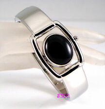 RARE Vintage Deco Genuine Black Onyx Fob Ladies Flip Silver Spinner Bangle Watch