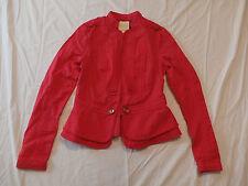 Anthropologie Elevenses Women's Cropped Field Jacket Blazer Red Size 0 NWT