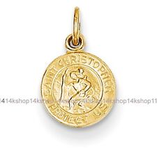 14K Gold Tiny Round Baby St St. Saint Christopher Medal Charm Child's Pendant