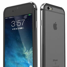 Clear Hard Plastic Back Aluminum Metallic Bumper Case Cover iPhone X 8/7/6 Plus