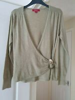 Lovely Monsoon Sage Green Wrap Top, Long Sleeves, Warm, Size 10, VGC