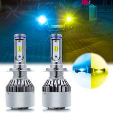 2X H7 36000LM LED Headlight Kit High Low Beam COB Bulb 3000K Yellow / 8000K Blue