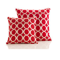 "Red OH Luxury Thick Chenille Modern Circle Geometric Cushion Cover 18"" & 22"""