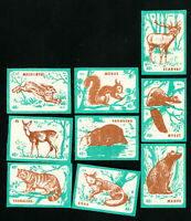 Hungary Stamps XF Series of 9 imperforate animal labels