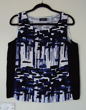 Temt cobalt blue & white sleeveless top with black side panels - size 14