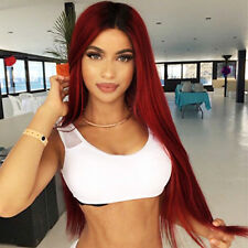 Long Straight  Natural Hair Ombre Red Wig Middle Part Synthetic Wigs for Women
