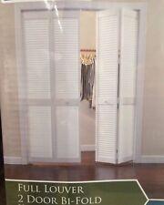 36 in X 80 in woodgrain doors 2 panel louver solid core wood closet bi-fold door