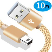 Mini USB 2.0 Cable Braided Type A to Mini-B Charger Cord for PS3 Controller