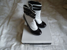 Cheryl Cole Freak Le Chic White Black Stiletto Ankle Leather Boot Sz 6 RRP £119