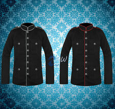 MENS BLACK AND RED MILITARY JACKET STEAMPUNK ARMY OFFICER PEA COAT