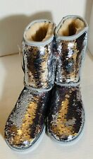 Ugg Classic Short Two Tone Silver/Pink Sequin Boots Size 8
