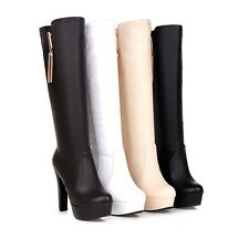 Ladies Party Shoes Synthetic Leather Platform High Heels Knee Boots AU Size b183