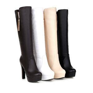 2021 Womens Party Shoes Synthetic Leather Platform Winter Knee High Boots Tassel