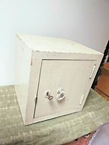 Vintage small wooden safe with key - approx 35cm cube