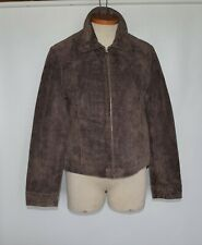 Sonoma Petite Genuine Leather Suede Brown Womens Zipper Blazer Jacket Size PS