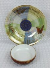 KPM Berlin 2x Lustre Items - Butterfly Bowl & Red Floral Tray Dish - Antique VGC