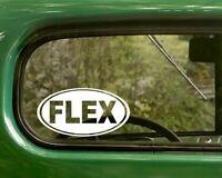 2 FLEX DECALs Oval Weight Lifting Sticker Vinyl Bumper truck Car Window Laptop