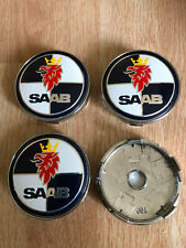 4x Saab Wheel Centre Cap Alloy Hub New Set Of 4 Centre Caps 60mm Blue/White