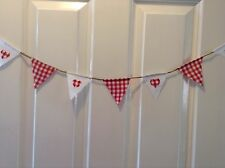 Red And White Gingham Mini Bunting/Country/Shabby Chic