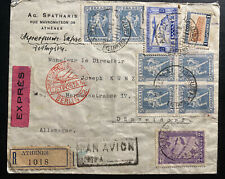 1934 Athens Greece Commercial Airmail Cover To Düsseldorf Germany Via Berlin