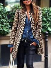 Plus Size Womens Leopard Print Long Sleeve Coat Trench Jacket Long Parka Outwear
