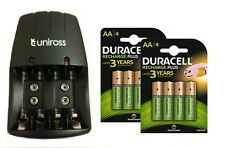 UNiROSS AA/AAA/PP3 9v COMPACT CHARGER 8 x AA DURACELL RECHARGEABLE BATTERIES