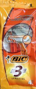 BIC 3 Sensitive Men's Aloe & Vitamin E Triple Disposable Razors 4-Pack MULTIBUYS