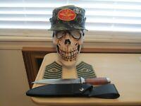 Vietnam era short brim boonie cover & SGT Major & SOG Combat knife