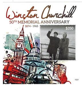 Liberia - Sir Winston Churchill - Souvenir sheet - 2015 MNH