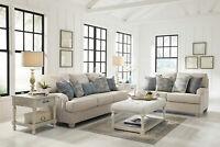 Transitional Living Room Furniture - 2 piece Beige Fabric Sofa Loveseat Set IG0B