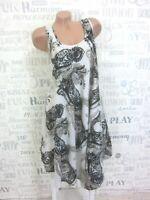 NEU Sommerkleid Hängerchen Strand Kleid Tunika IBIZA BOHO 42 44 46 Weiß S 1653