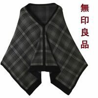 Muji Multi Cape Black Check - One Size - Brand New with Tags