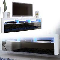 TV Board Lowboard Unterschrank Sideboard in Weiß schwarz Hochglanz 160cm
