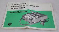 Channel Master Cassette Recorder Model 6304 Instructions Vintage