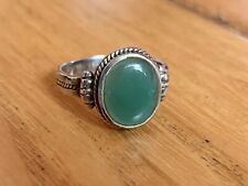 Lovely 925 Silver Green Stoned Celtic style ring size S by Kit Heath 96