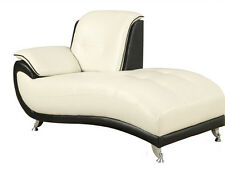 Olivette Black/White Bonded Leather Modern Chaise Lounge