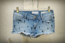 BULLHEAD Size 1/3 Embroidered Crucifix Jesus Hot Mini Denim Short Shorts