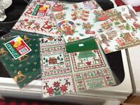 8 Sheets Vtg Christmas Wrapping Paper - Lot