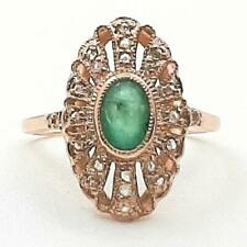 Genuine 1.08ctw Columbian Emerald & H-SI Diamond 14K Rose Gold 925 Silver Ring