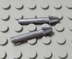 LEGO New Lot of 2 Flat Silver Minifigure Spear Harpoon Weapon Pieces