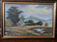 Genuine Large 1900s Post Impressionist Oil Painting on Canvas,Signed, Gilt Frame