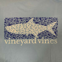 Vineyard Vines Mens Short Sleeve Pocket T Shirt Sz 2XL Fish Scales Shark Blue