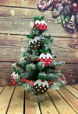 More details for gisela graham festive felt christmas pudding garland / bunting *approx 3m