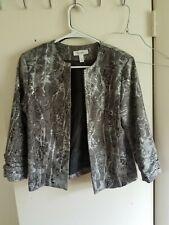 DRESS BARN Short jacket gray/ silver and black leopard pattern VERY NICE