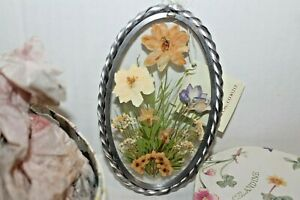 Lasting Impressions Real Pressed Flowers in Glass w/ Oval Metal Frame Suncatcher