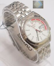 Gift + SNK369K1 SEIKO 5 Stainless Steel Band Automatic Men's White Watch New